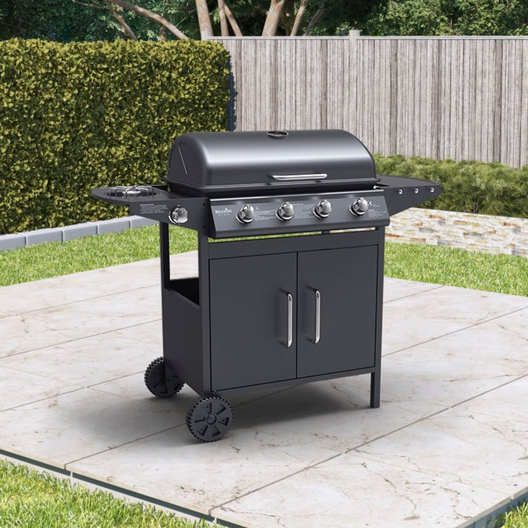 BillyOh Georgia Gas BBQ 4 Burner + Side Burner Inc Cover & Regulator Black 111x96x54cm