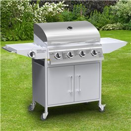 BillyOh Huntsville Silver 4 Burner Gas BBQ Grill with Side Burner & Side Table Includes Cover & Regulator