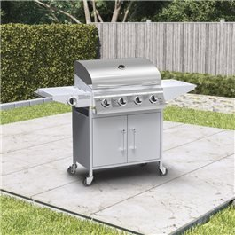 BillyOh Huntsville Gas BBQ 4 Burner + Side Burner Inc Cover & Regulator Silver 136x105x53cm