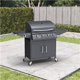 BillyOh Huntsville Gas BBQ 4 Burner + Side Burner Inc Cover & Regulator Black 136x105x53cm