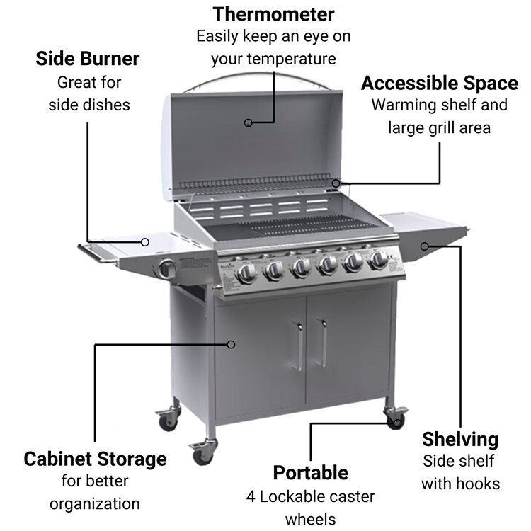 BillyOh Huntsville Silver 6 Burner Gas BBQ Grill with Side Burner & Side Table Includes Cover & Regulator