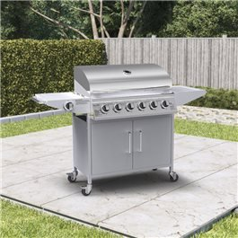 BillyOh Huntsville Gas BBQ 6 Burner + Side Burner Inc Cover & Regulator Silver 146x105x53cm