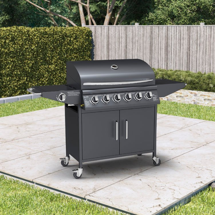 BillyOh Huntsville Gas BBQ 6 Burner + Side Burner Inc Cover & Regulator Black 146x105x53cm