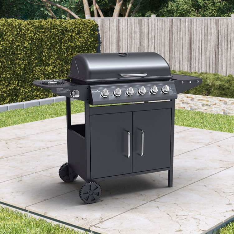 BillyOh Georgia Gas BBQ 6 Burner + Side Burner Inc Cover & Regulator Black 133x108x58cm