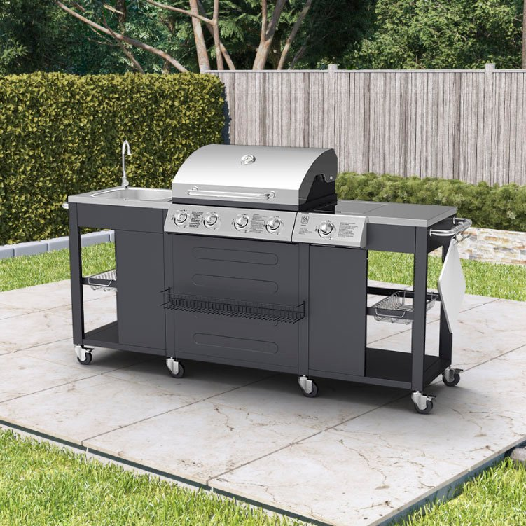 BillyOh Alabama Gas BBQ 4 Burner + Side Burner & Sink Inc Cover & Regualator 204x112x59cm