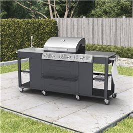 BillyOh Alabama Gas BBQ 4 Burner + Side Burner & Sink Inc Cover & Regulator 204x112x59cm