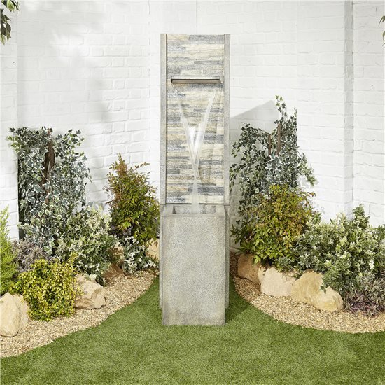 BillyOh Mosaic Waterfall Garden Water Feature with Pump 159x40x39cm