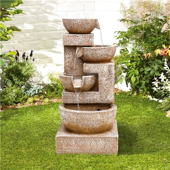 BillyOh Sparkling Bowls Outdoor Garden Water Feature with Pump & LED lights 85x41x44cm