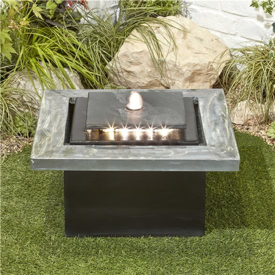 BillyOh Milano Cube Outdoor Garden Water Feature with Pump & LED lights 29x51x51cm