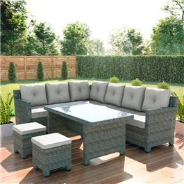 BillyOh Monaco Rattan 8 Seater Corner Dining Sofa Set Mixed Grey/Natural