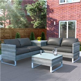 BillyOh Salerno 4 Seater Outdoor Rattan Garden Furniture Corner Sofa Set With Storage