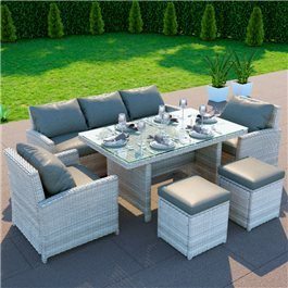 BillyOh Minerva Rattan Outdoor Garden 7 Seater Dining Sofa Set Grey/Natural
