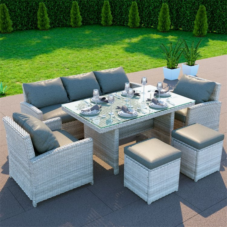 Gray AN Rattan Garden Furniture Sets Greenhouse Indoor and Outdoor Terrace Four Sets of Tables and Chairs Sofa ,Blue