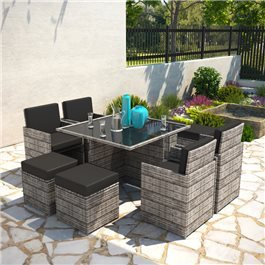 BillyOh Modica 8 Seater Cube Outdoor Rattan Garden Dining Set Mixed Grey