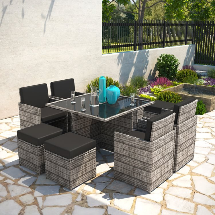 Billyoh Modica 8 Seater Cube Rattan, Grey Rattan Garden Furniture Cube Sets