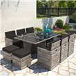BillyOh Modica 10 Seater Cube Outdoor Rattan Dining Set Mixed Grey
