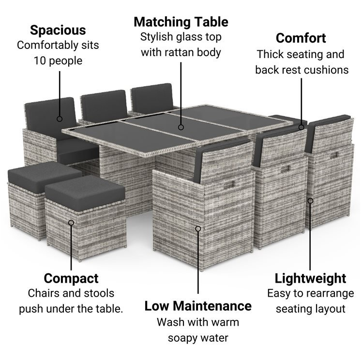 BillyOh Modica 10 Seater Cube Outdoor Rattan Garden Dining Set Mixed Grey