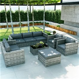 BillyOh Seville 8 Seater Outdoor Rattan Sofa Set - Mixed Grey