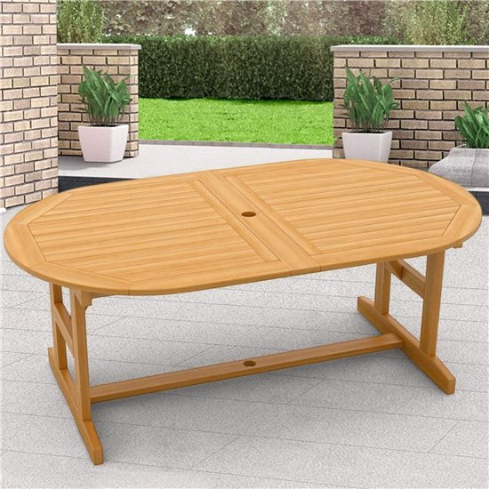 BillyOh Windsor 1.8m Extending 2.3m Folding Oval Acacia Garden Outside Dining Table