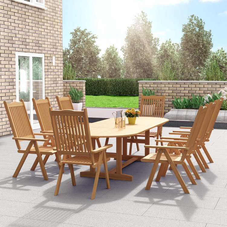 BillyOh Windsor 2.0m Extending 2.8m 6 -8 Seater Folding Wooden Oval Outside Dining Set