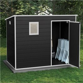 BillyOh Oxford Pent Plastic Shed Dark Grey With Floor