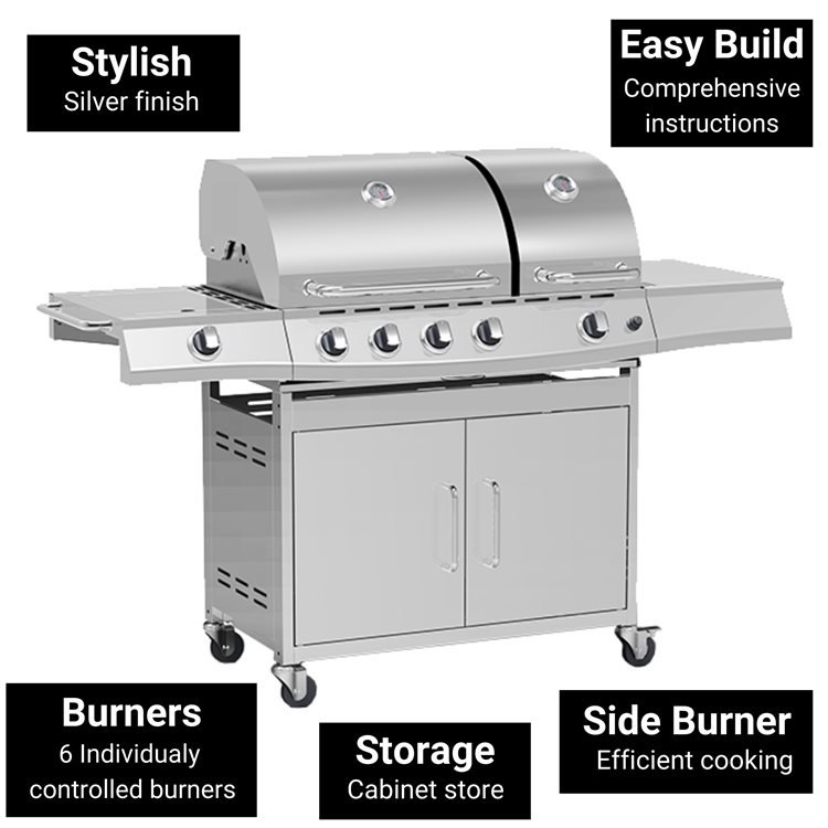 BillyOh Dallas Silver 5 Burner Gas BBQ Grill with Side Burner & Side Table Includes Cover & Regulator